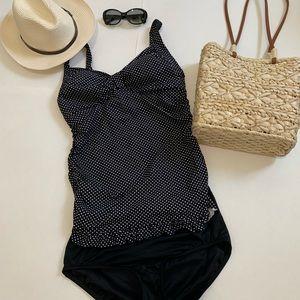 Black and white polka dot swimsuit